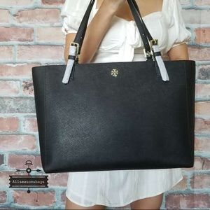 Tory Burch large black tote Emerson buckle bag